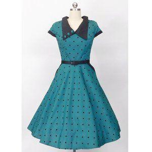 Hell Bunny Vixen Brooke Teal Polka Dot Dress